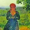 Tanara cu ochii in ecranul unui telefon mobil, intr-un tablou din 1860!