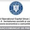 Programul Operațional Capital Uman 2014-2020  AXA PRIORITARA 4- Incluziunea socială și combaterea sărăciei, Obiectivul tematic 9.ii: Integrarea socio-economică a comunităților marginalizate, cum ar fi romii.