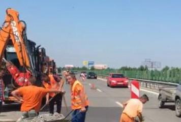 """SMURD-ul autostrazii"", pe A2. S-au dres dalele de beton efectate de caldura (VIDEO)"