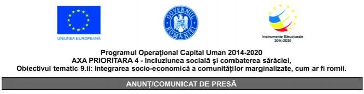 Programul Operațional Capital Uman 2014-2020 AXA PRIORITARA 4 – Incluziunea socială și combaterea sărăciei, Obiectivul tematic 9.ii: Integrarea socio-economică a comunităților marginalizate, cum ar fi romii.