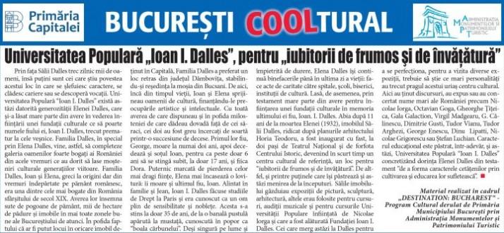 """Universitatea Populară """"Ioan I. Dalles"""", pentru """"iubitorii de frumos şi de învăţătură"""""""