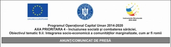 Programul Operațional Capital Uman 2014-2020 AXA PRIORITARĂ 4 – Incluziunea socială și combaterea sărăciei, Obiectivul tematic 9.ii: Integrarea socio-economică a comunităților marginalizate, cum ar fi romii