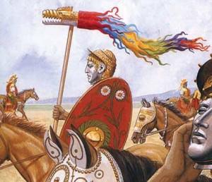 draco tricolor copy 300x258 Epopeea steagului dacic de lupta    Partea I