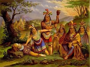 Pocahontas saves Smith NE Chromo 1870 300x224 Iubitul indiencei Pocahontas a fost mercenar in oastea lui Mihai Viteazul