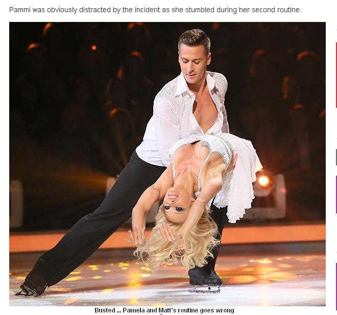На шоу Танцы на льду у Памелы Андерсон выпала грудь (ФОТО) .