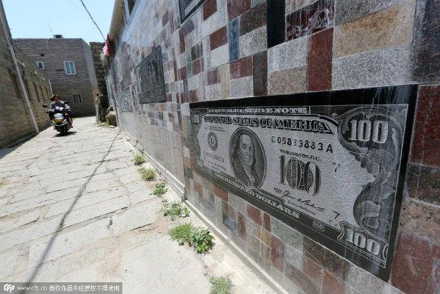 banknotewall10 Si a umplut gardul cu bancnote de pe vremea lui Mao, dar si cu bani ai imperialistilor americani
