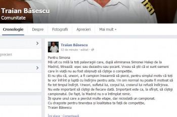 postare 2 350x231 Basescu o incurajeaza pe Halep: Nu e important sa castigi de fiecare data!