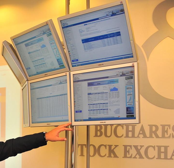 Bursa de Valori Bucuresti panou tranzactionare crop OMV Petrom, in scadere puternica la Bursa
