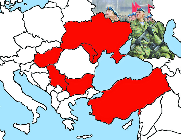 blank europe map Romania, incercuita militar!