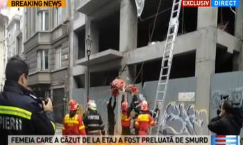 cazut 350x209 Incident in centrul Capitalei. O femeie a cazut de la etajul unui bloc nelocuit