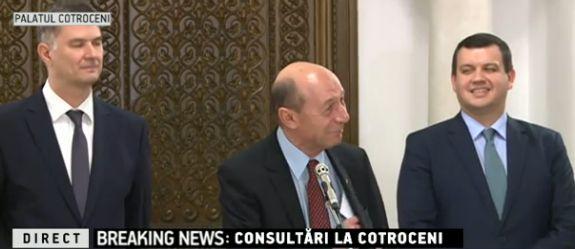 base Basescu, pus pe glume la inceputul consultarilor cu succesorul sau, la Cotroceni