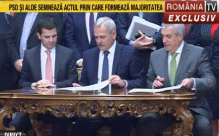 protocol Sefii PSD ALDE au semnat protocolul de guvernare. Vor sa mearga in echipa la consultari
