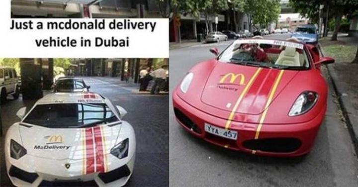 masinile de lux care fac livrarile mcdonald s in dubai 218149 In Dubai, burgerii McDonalds sunt plimbati cu Lamborghini