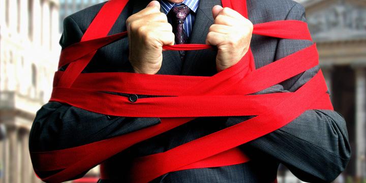 businessman red tape Rusine PSD! Promisiune neonorata!