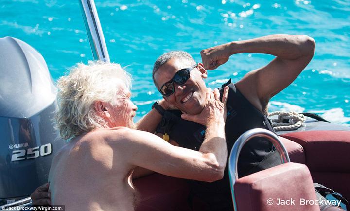 obama3 Barack si Michelle, in vacanta cu Richard Branson
