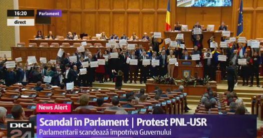 prot Circul de la Parlament s a mutat in sala de plen a Camerei: Useristii si liberalii si au unit pancartele