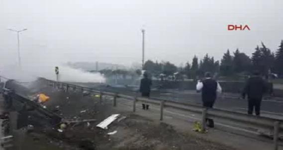 accid elicopt Un elicopter s a prabusit pe o autostrada din Istanbul si a luat foc: 5 morti