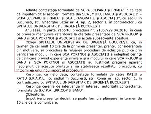 Decizie 1037 003 Triada Basescu, Cirstoiu, Pricop    afaceri cu iz penal la Spitalul Universitar