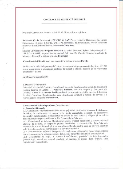 contract 2010 002 Triada Basescu, Cirstoiu, Pricop    afaceri cu iz penal la Spitalul Universitar