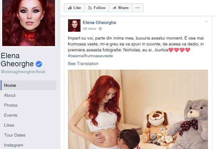 elena Modul inedit prin care Elena Gheorghe si a anuntat fanii ca e din nou insarcinata