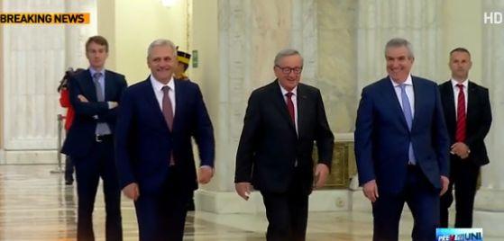jun Junker, la Parlament. Seful Comisiei Europene, intampinat de Dragnea si Tariceanu