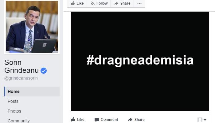 demi Grindeanu reia ideea, dar cu hashtag: #dragneademisia!