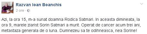boanchis A murit Sorin Satmari. Jurnalistul lucrase la FRF si LPF