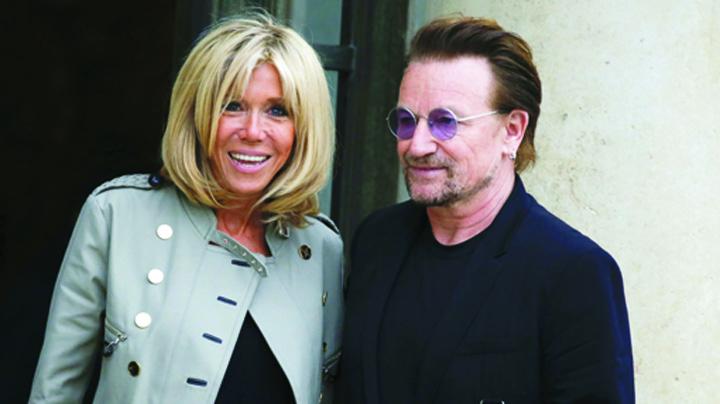 bono si briditte Bono, la Elysee cu Brigitte