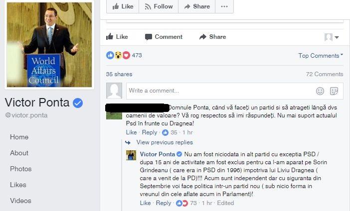 pon Anunt misterios. Ponta: voi face politica intr un partid nou