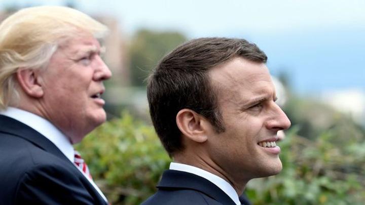 trump macron Trump ia masa cu Macron in Turnul Eiffel
