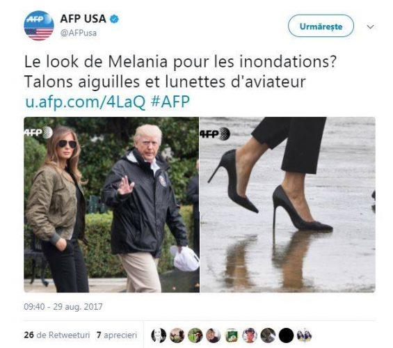 21175679 848067935359208 327371202 n 565x500 Tinuta de inundatii a Melaniei: pantofi cu toc stiletto si ochelari de aviator!