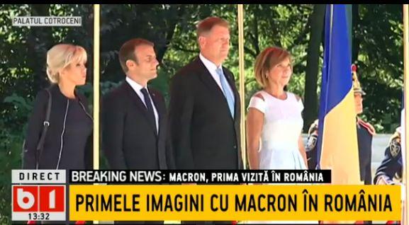 macr Emmanuel Macron, primit cu onoruri la Cotroceni