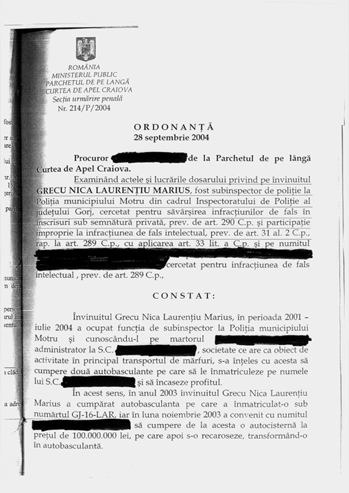 "ordonanta pag 1 Cand era mai ""mic"", procurorul DNA Grecu a furat un camion"