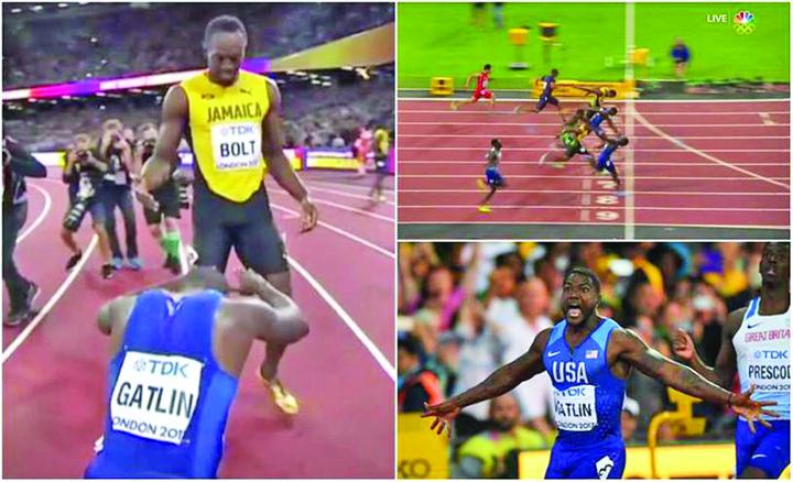 usain gatlin Usain Bolt, invins in ultima cursa de 100 metri din cariera