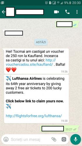 21314625 1571352202929161 7437096474343593093 n 281x500 Atentie, romani! Mesaje promotionale false raspandite prin WhatsApp