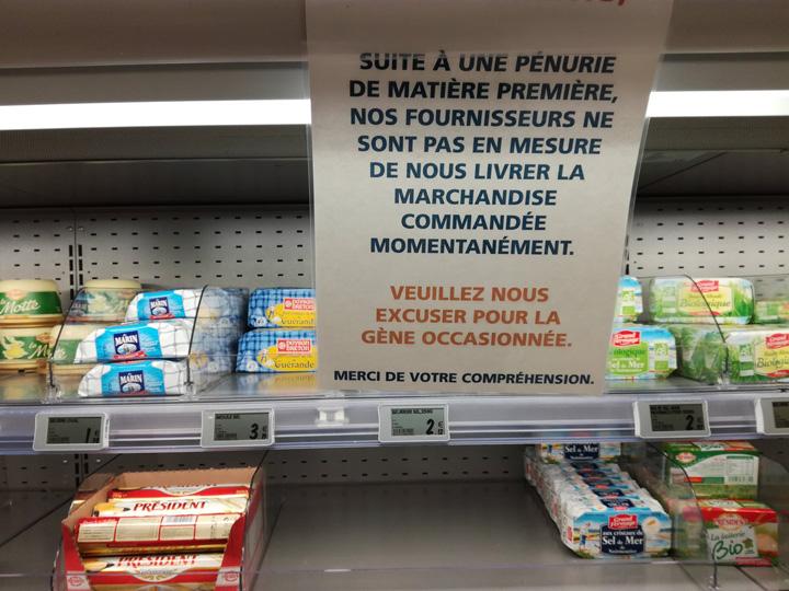 penurie unt Criza de unt in Franta