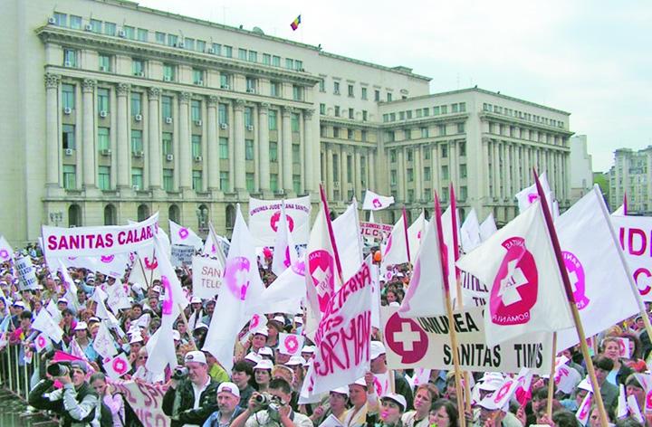 "protest Sanitas Sindicatele se ""solidarizeaza"" cu Guvernul"