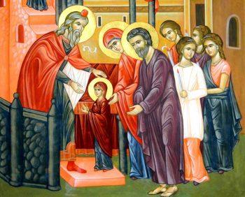 intrarea maicii domnului in biseric 350x282 Intrarea Maicii Domnului in Biserica, praznuita marti