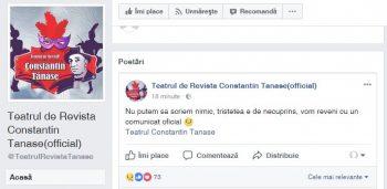 mesaj 350x171 Primul mesaj dinspre Teatrul Constantin Tanase dupa ce Stela Popescu s a stins