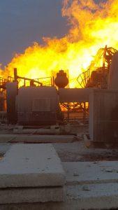 incendiu sonda 1 169x300 Incendiul de la sonda din Satu Mare, inca de nestavilit. Specialistii straini au ajuns in zona