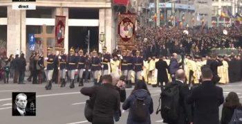 rege 1 350x179 Funeraliile Regelui Mihai. Cadre impresionante de la procesiunea din centrul Capitalei