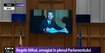 sedinta solemna 350x177 Regele Mihai, omagiat in sedinta solemna, la Parlament, in prezenta sefului statului si a Custodelui Coroanei