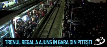tr 350x156 O mare de oameni. Imagini cu momentul in care trenul regal a ajuns in gara din Pitesti (VIDEO)