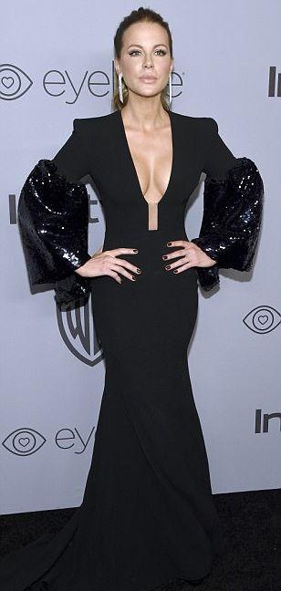 Kate Beckinsale Globurile de Aur, ceremonie in negru