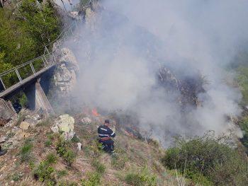 incendiu cetate 350x263 Se fac mari eforturi pentru stingerea incendiului din zona Cetatii Poienari (VIDEO)