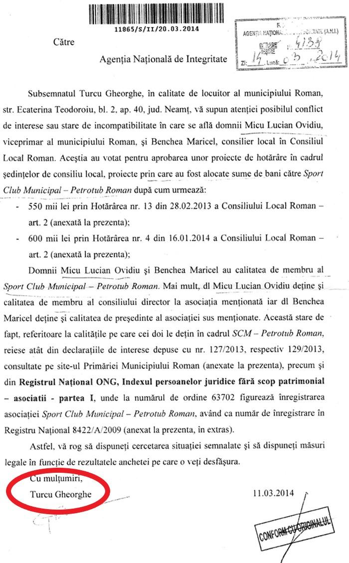 Denuntul din 2014 al mortului din 2007 1 Primarul din Roman, lucrat de ANI pe denuntul unui mort