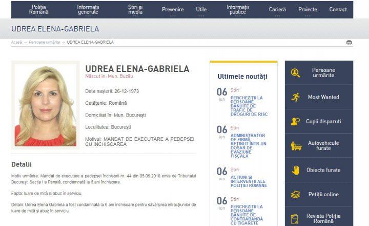 udr 720x440 Elena Udrea, pe lista persoanelor urmarite a Politiei Romane, dupa condamnarea in Gala Bute