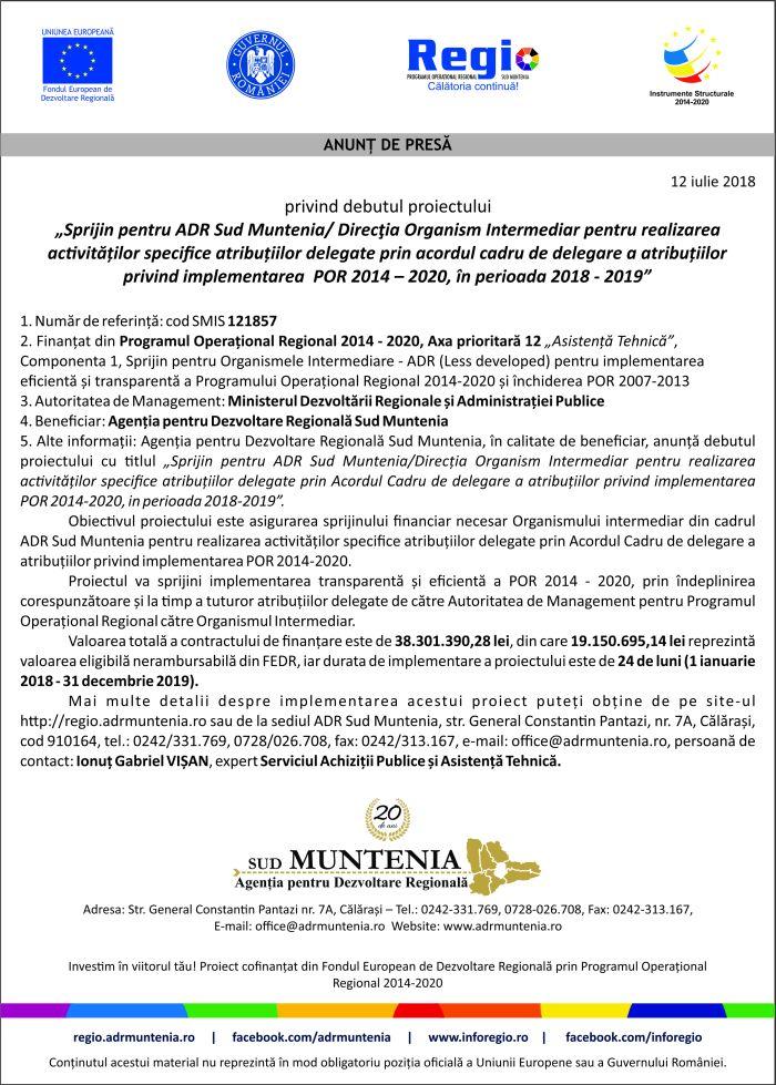 ADR Sud M data12 Anunț de presă privind debut proiect ADR Sud Muntenia