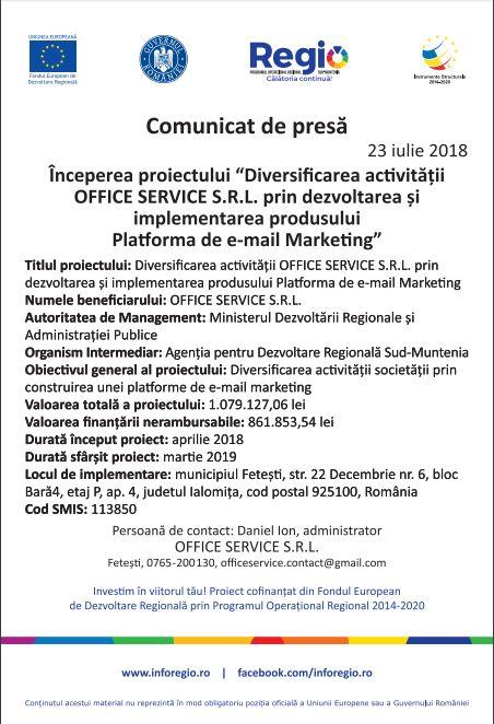 anunt pt 23 Începerea proiectului Diversificarea activității OFFICE SERVICE S.R.L prin dezvoltarea și implementarea produsului Platforma de e mail Marketing
