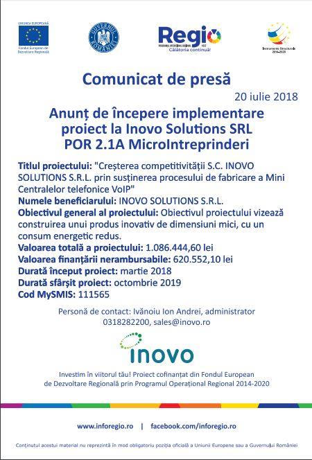 anunt Anunț de Începere implementare proiect la Inovo Solutions SRL POR 2.1A MicroIntrerpinderi